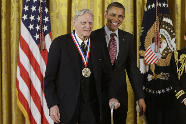 In this Friday, Feb. 1, 2013 file photo, U.S President Barack Obama awards the National Medal of Science to Dr. John Goodenough of the University of Texas, during a ceremony in the East Room of the White House in Washington. [File Photo: AP/Charles Dharapak]