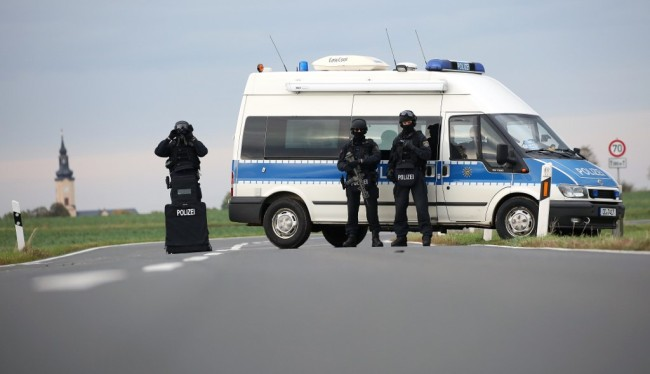 Police secures the area between Wiedersdorf and Landsberg near Halle, eastern Germany, where shots were fired on October 9, 2019. [Photo: AFP/Ronny Hartmann]