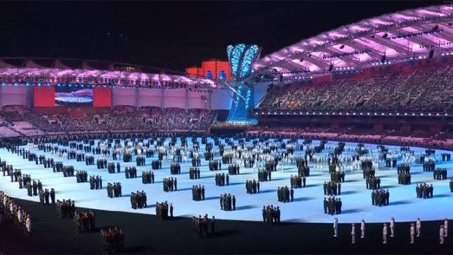 The 7th Military World Games opened in the city of Wuhan in Hubei Province on Friday, October 18, 2019. [Photo: screen shot from CGTN]