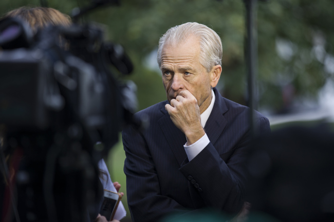 White House trade adviser Peter Navarro pauses while speaking after a television interview at the White House, Tuesday, Oct. 8, 2019, in Washington. [Photo: AP/IC]