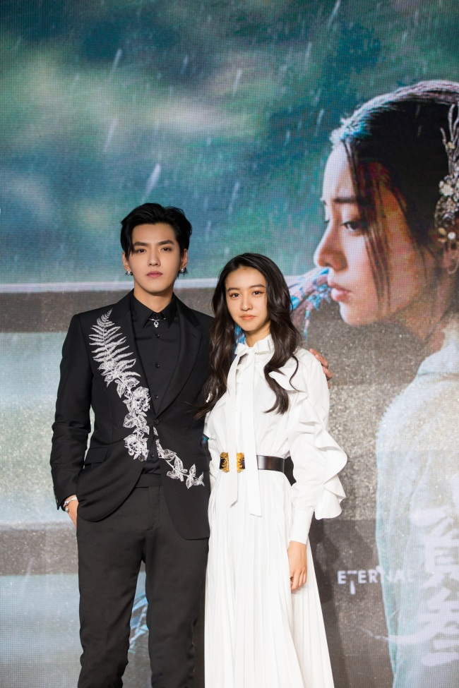 Chinese-Canadian actor-singer Kris Wu (left) and Japanese model Kōki (right) attend a promotional event held in Beijing on Wednesday, Nov 6, 2019 for the release of Kris' new song for which the two shot a short film.[Photo provided to China Plus]