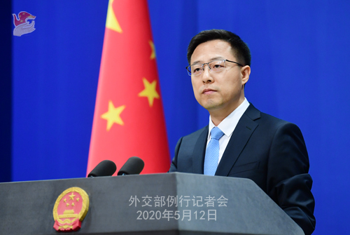 Chinese Foreign Ministry spokesperson Zhao Lijian at a regular briefing in Beijing on Tuesday, May 12, 2020. [Photo: fmprc.gov.cn]